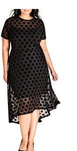 New City Chic sheer polka Dress needs slip 16